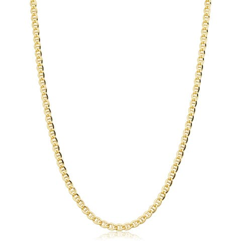 14k Yellow Gold Filled 3.4 millimeter Mariner Link Chain Necklace (16-36 inch)
