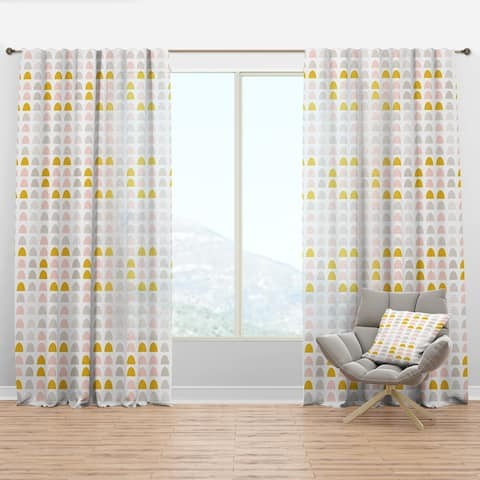Designart 'Retro Pastel Circular Pattern III' Mid-Century Modern Curtain Panel