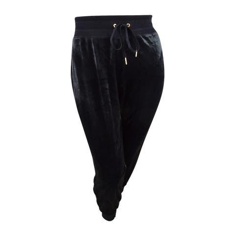 Calvin Klein Womens Plus Size Velour Jogger Pants (2X, Black) - 2X