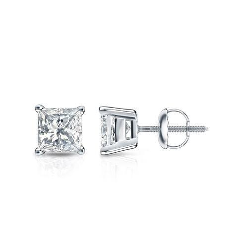 Auriya 1ctw Princess-cut Solitaire Diamond Stud Earrings 14k Gold