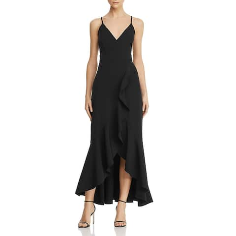 Laundry by Shelli Segal Ruffled V-Neck Sleeveless Hi-Low Maxi Gown
