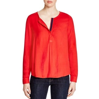 Three Dots Womens Sonia Casual Top V-Neck Contrast