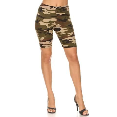 Women's Plus Size Print High Wiast Yoga Gym Solid Biker Short Pants