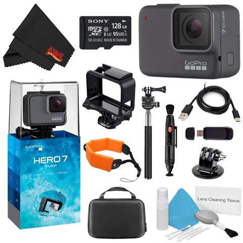 GoPro HERO7 Silver 128GB Bundle + Medium GoPro Case, Xtreme Active Monopod, and Orange Floating Strap