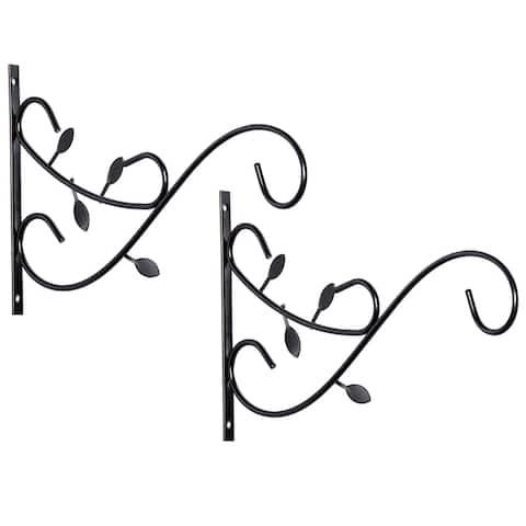 Decorative Metal Wall Mounted Hook for Hanging Plants, Bracket Hanger Flower Pot Holder, 2 Pack