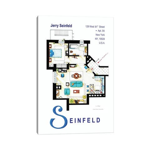 """iCanvas """"Apartment From Seinfeld"""" by TV Floorplans & More Canvas Print"""