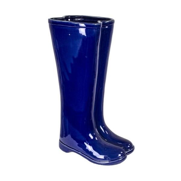 Well Designed Ceramic Boots Umbrella Stand, Blue