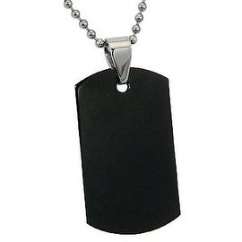 Engraveable Black Stainless Steel Dog Tag with 22 Inch Bead Chain