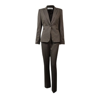 Tahari Women's Faux-Leather Trim Woven Pant Suit