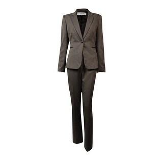 Tahari Women's Faux-Leather Trim Woven Pant Suit