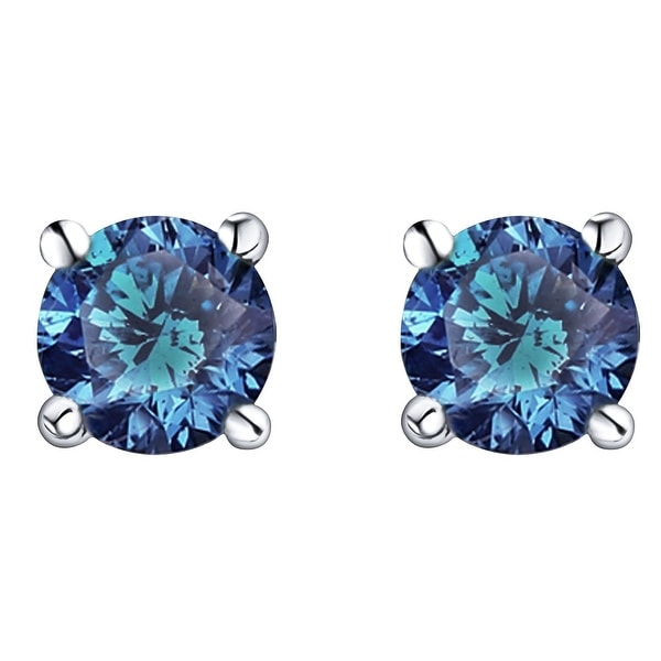 Prism Jewel 0.18Ct To 1.00Ct Round Black Diamond Bezel Set Screw Back Stud Earrings Crafted In Rose Gold