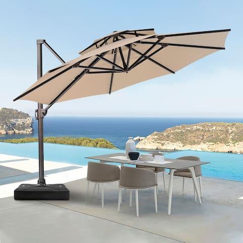 Crestlive Products Patio Luxury 12 FT Double Top Round Offset Umbrella