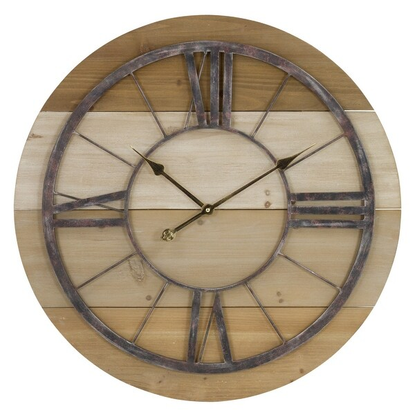 "Aspire Home Accents 6268 Russett 27-1/2"" Diameter Metal Framed Wood Analog Clock - Brown"