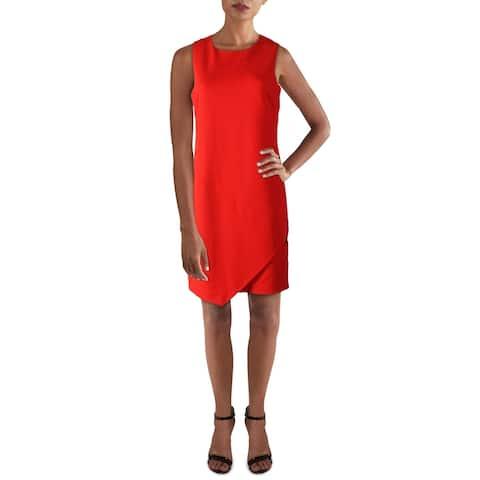 Sam Edelman Womens Sheath Dress Asymmetrical Hem Crewneck - Red