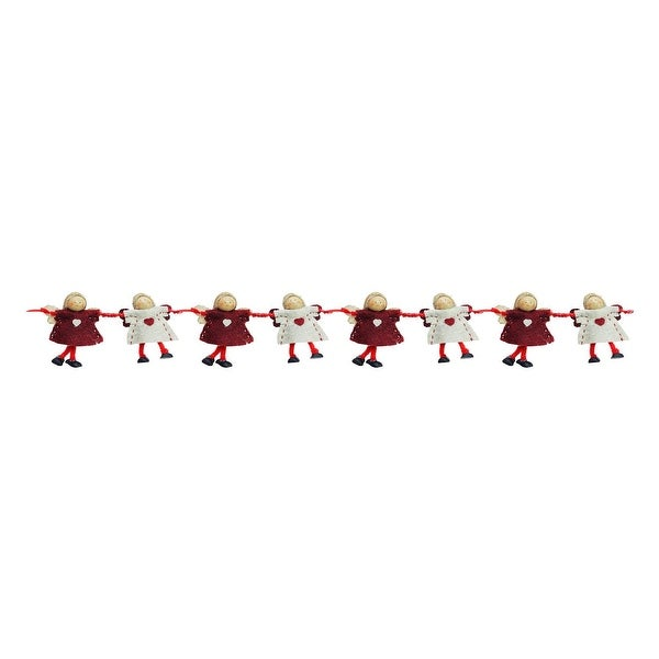 """26"""" Decorative Plush Red and Beige Joined Hands Angel Dolls Christmas Garland - Unlit - brown"""