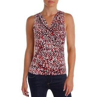Calvin Klein Womens Petites Blouse Printed Sleeveless