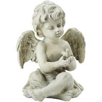 "6.5"" Gray Sitting Cherub Angel Outdoor Garden Statue Decoration - N/A"