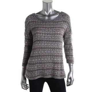 Lucky Brand Womens Metallic Striped Pullover Sweater
