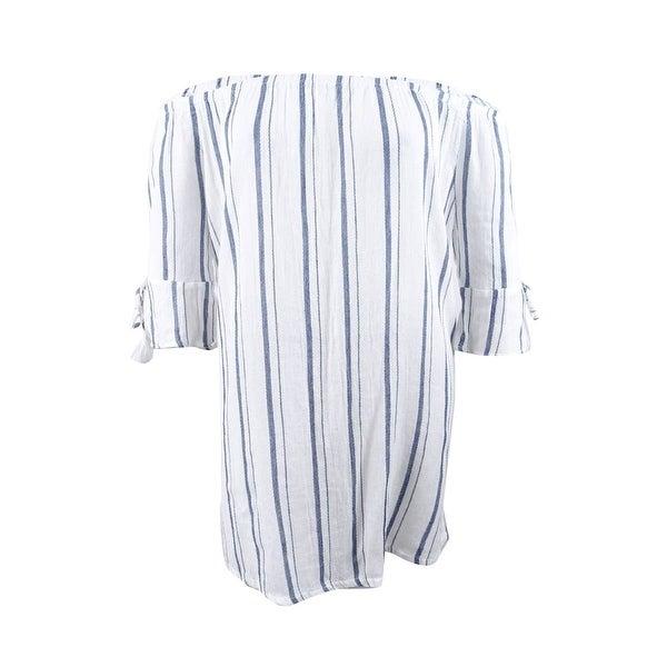 Lucky Brand Women's Stripe Off-the-Shoulder Dress Cover-Up (L, Indigo/White) - Indigo/White - L
