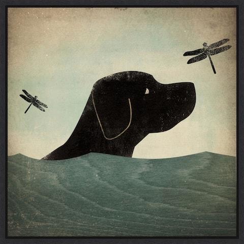 Black Dog Swim by Ryan Fowler Framed Canvas Art