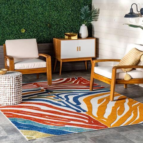 nuLOOM Summer Textured Zebra Stripes Indoor/Outdoor Area Rug