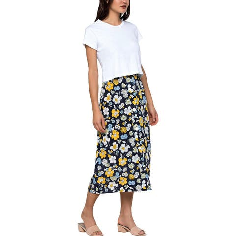 Juicy Couture Black Label Womens Midi Skirt Silk Floral