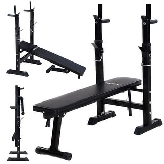 Costway Adjustable Folding Weight Lifting Flat Incline Bench Fitness Workout