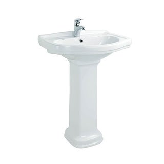 "WS Bath Collections Klassic KL 65+250 Klassic Ceramic White 25-9/10"" Pedestal Bathroom Sink with Overflow"