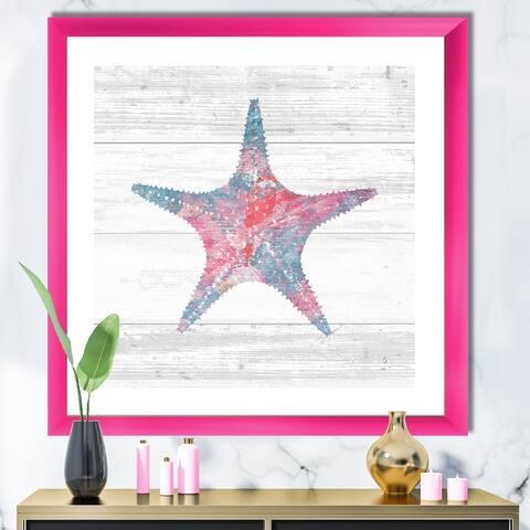 Designart 'Pink Starfish Ocean Life' Nautical & Coastal Framed Art Print