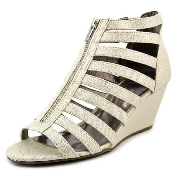 Material Girl Harper 1 Women Open Toe Synthetic Silver Wedge Sandal