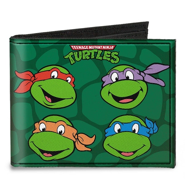 Classic Tmnt Group Faces + Pose Turtle Shell Black Green Canvas Bi Fold Canvas Bi-Fold Wallet One Size - One Size Fits most