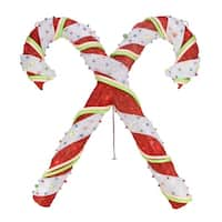 "26"" Lighted Red & White Sisal Double Candy Cane Christmas Outdoor Decoration"