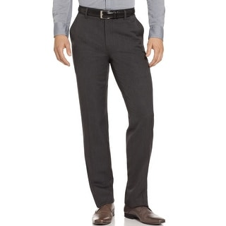 Kenneth Cole Reaction Flat Front Dress Pants Charcoal Stripes - 34