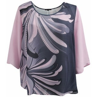 Women Plus Size Flowy Chiffon Multi Print Fashion Blouse Tee Shirt Knit Top Pink Charcoal G17024L-12