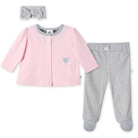 Just Born® Baby Girls' 3-Piece Organic Lil' Lamb Take Me Home Set - Pink/Gray