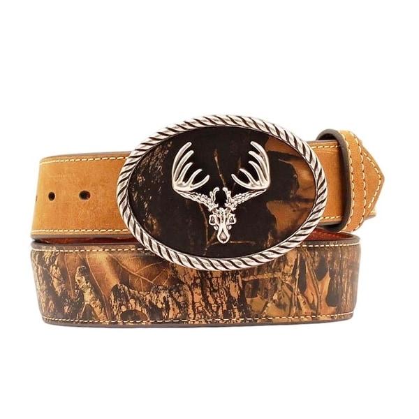 Nocona Western Belt Mens Leather Buck Skull Camo Aged Bark