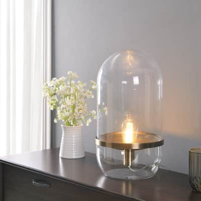 Bluff Accent Antique Brass and Glass Lamp