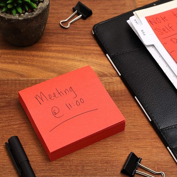 100-Sheet per Pad 8-Pad Sticky Notes 3x3 inch Bright Red Self-Stick Pads