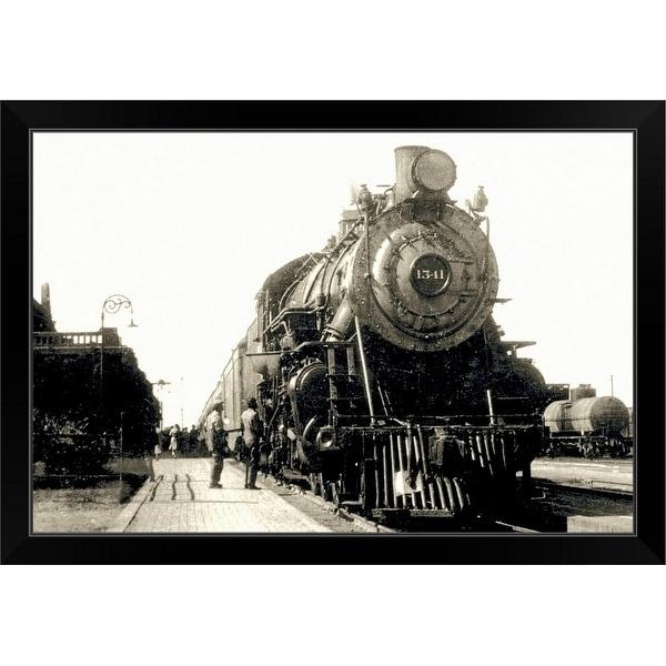 """Train in station"" Black Framed Print"