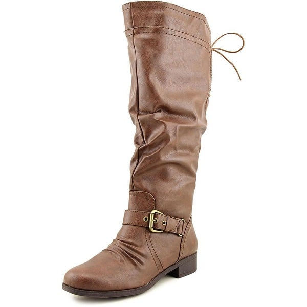 XOXO Marcher Wide Calf Round Toe Synthetic Knee High Boot