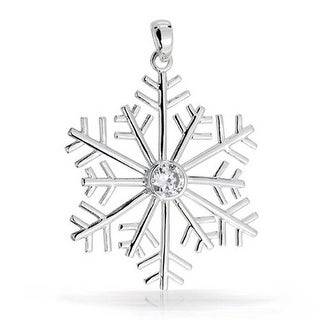 Bling Jewelry Round CZ Solitaire .925 Sterling Silver Snowflake Pendant