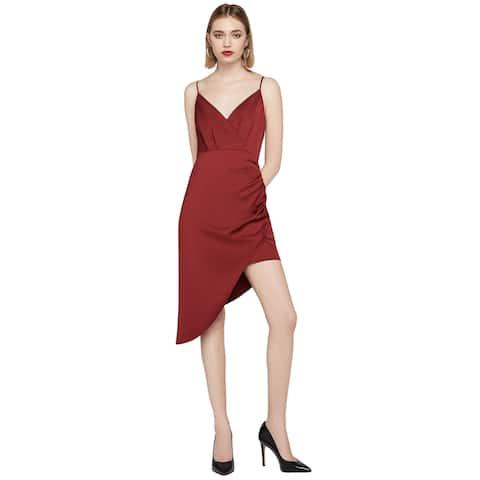 BCBGeneration Womens Strappy Asymmetrical Satin Cami Dress 12 Red