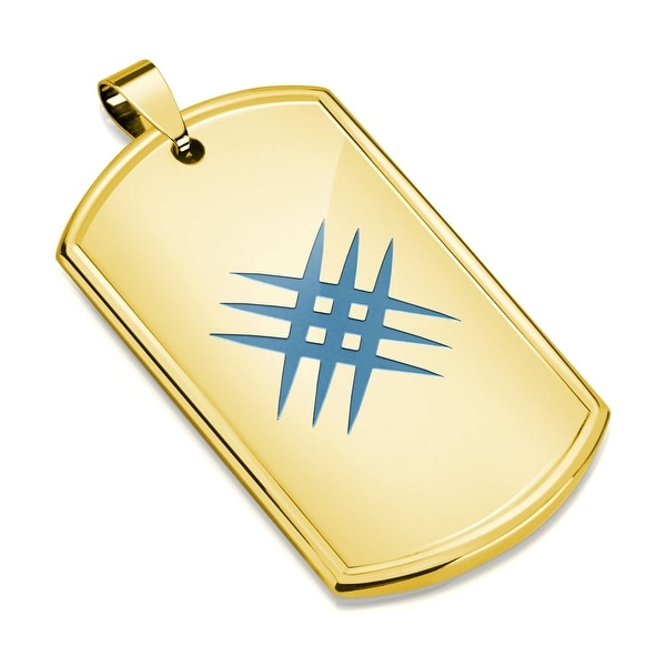 Azure Blue IP Crossed Scratch Gold IP Stainless Steel Dog Tag Pendant (30.5 mm Width)