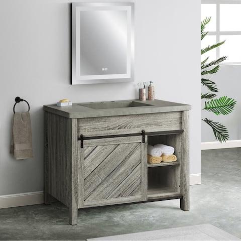 Saint Birch Cristopher Vanity Cabinet With 42-inch Cement Top