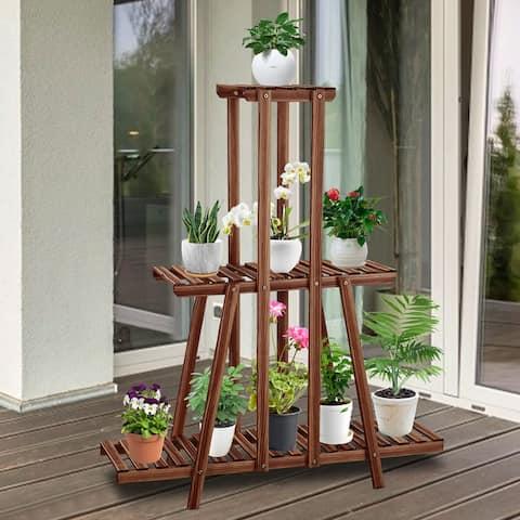 Kinsunny Plant Stands, Wood 3 Tier Flower Pots Holder Shelf Indoor Outdoor Garden Display Natural Pine (with A Pair of Glove)