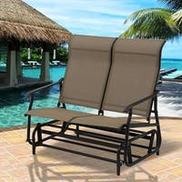Costway 2 Person Patio Glider Rocking Bench Double Chair Loveseat Armchair Garden