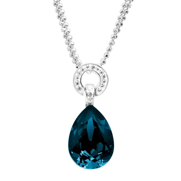 Crystaluxe Ring Drop Pendant with Swarovski Elements Crystals in Sterling Silver - Blue
