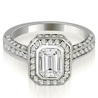 1.75 cttw. 14K White Gold Pave Emerald Cut Halo Engagement Diamond Ring