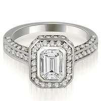 2.00 cttw. 14K White Gold Pave Emerald Cut Halo Engagement Diamond Ring