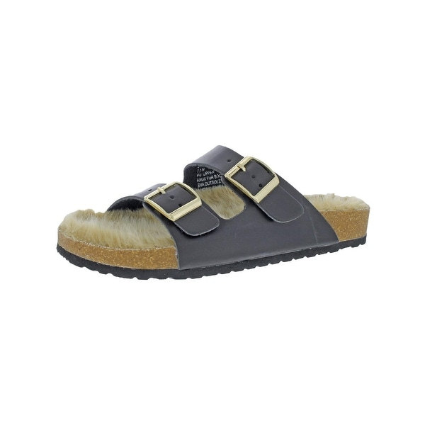8b0e6971faf Shop Steve Madden Womens Shave Slide Sandals Faux Fur Double Strap ...